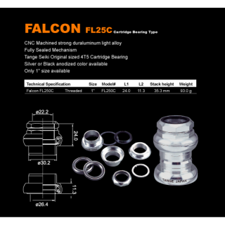 Tange - Falcon Alloy Cartridge - 1 threaded black
